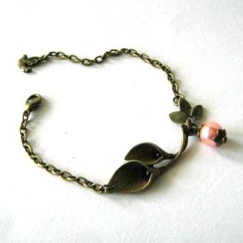 Antiqued bronze calla lily bracelet with peach glass pearl